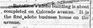 Photograph of news story from the Grand Junction News announcing the first adobe business building on Colorado Avenue.