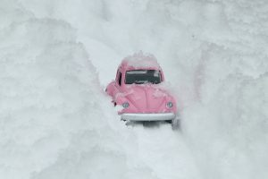 pink car in snow