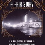 Fair Story presentation graphic with old photo of GJ's downtown at night