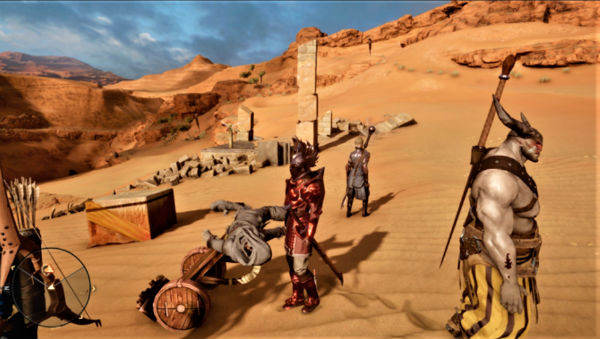 gameplay group of characters in desert