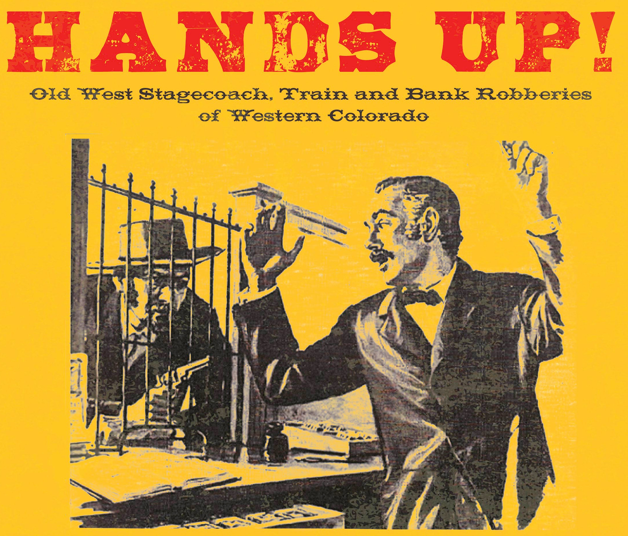 "Line drawing of Old West bandit holding up a banker, with promotional copy for the ""Hands Up"" presentation"