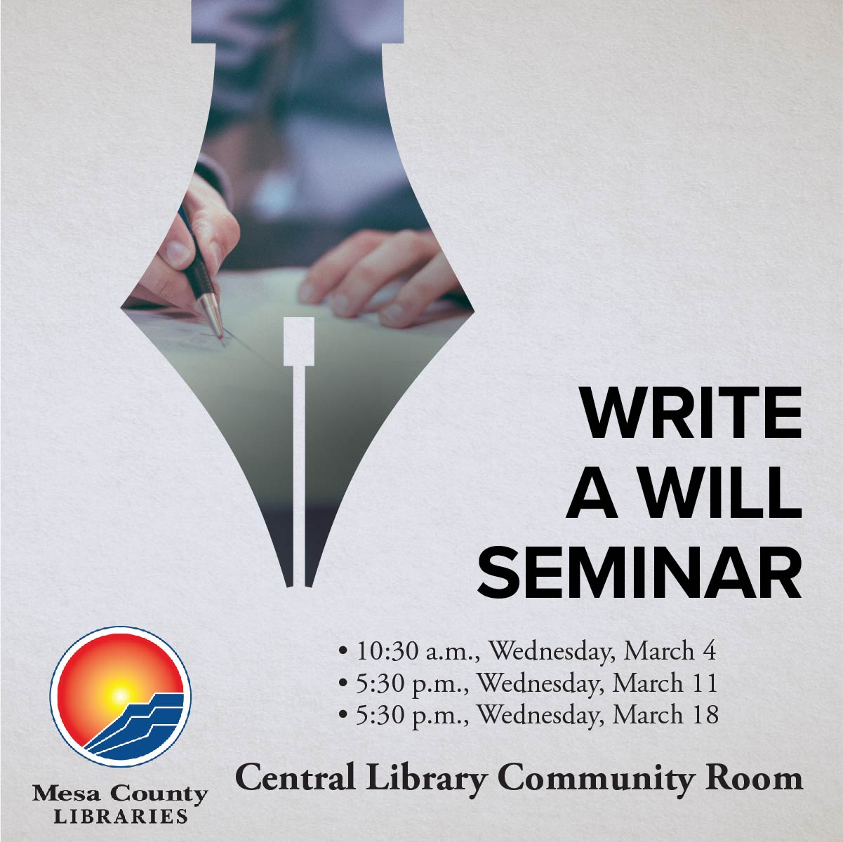Write a Will Seminar poster with times and dates