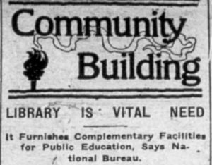 "Newspaper clipping headline ""Library is Vital Need"""