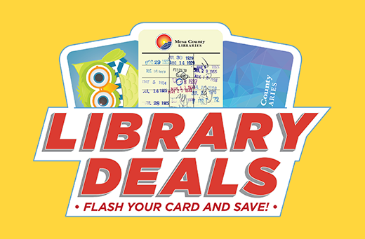 """Graphic displaying the text """"library deals"""""""