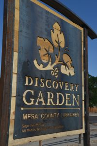 Image of the new Discovery Garden sign