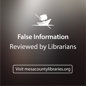 "Picture of ""The Audissey"" Logo on a gray background with the text: False Information Reviewed by Librarians"