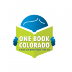 "Cartoonish blue person reading a green book with the advertisement of One Book Colorado on it. The is a sublabel that states ""A book for every four year old."""