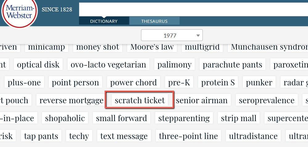 screenshot of 1977 words added to dictionary