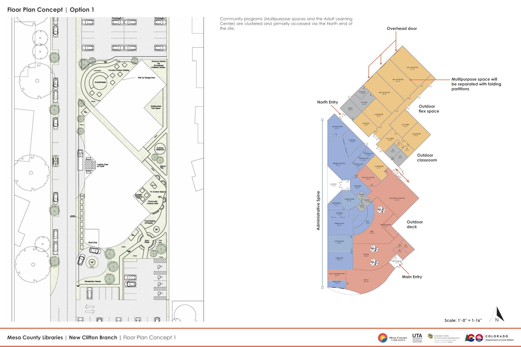Mesa County Libraries Clifton Branch floor plan concept option 1