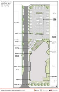 Conceptual site plan for proposed Clifton Branch, showing parking north of the building.