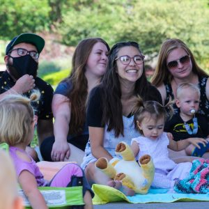 Picture of families at outdoor story time