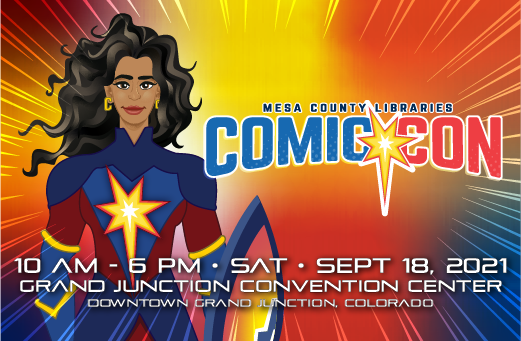 Graphic displaying information for the 2021 Comic Con
